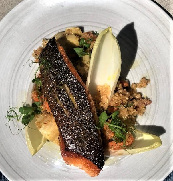Salmon   quinoa, endive, artichokes, meyer lemon