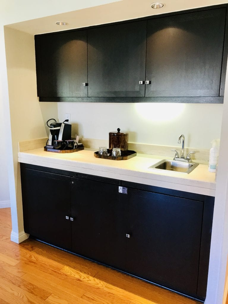 Additional area with a refrigerator and space to entertain