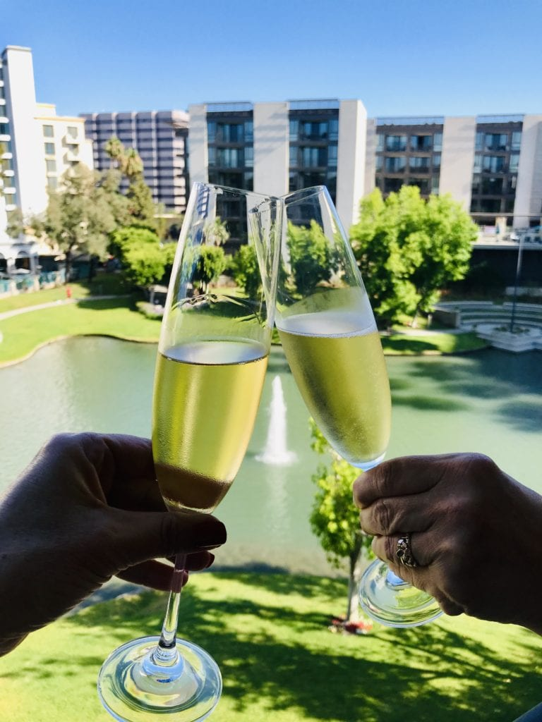 Enjoying some champagne on the balcony!  Cheers!
